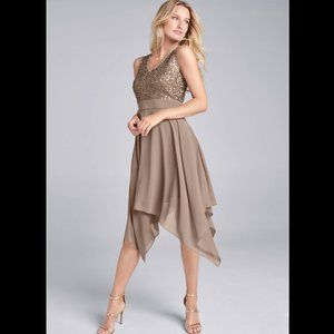 New Sequin Detail Party Dress Taupe Women sz 6